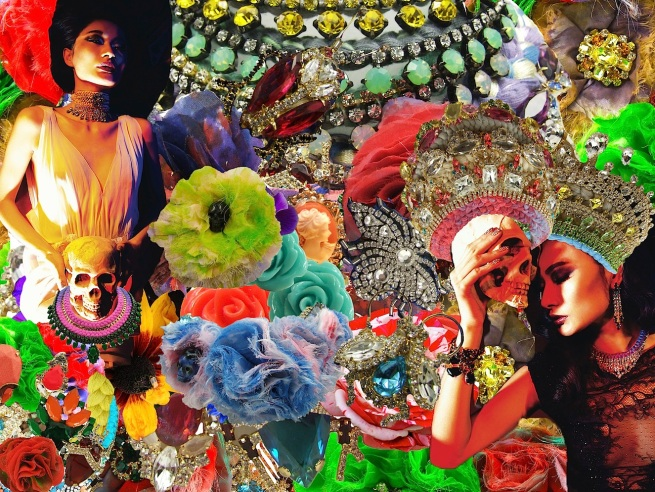 """Colourful Halloween collage, created with various fragments from Jolita Jewellery hand-made pieces and a couple of images from """"Undesirable pleasures"""" editorial, featuring Jolita jewels."""