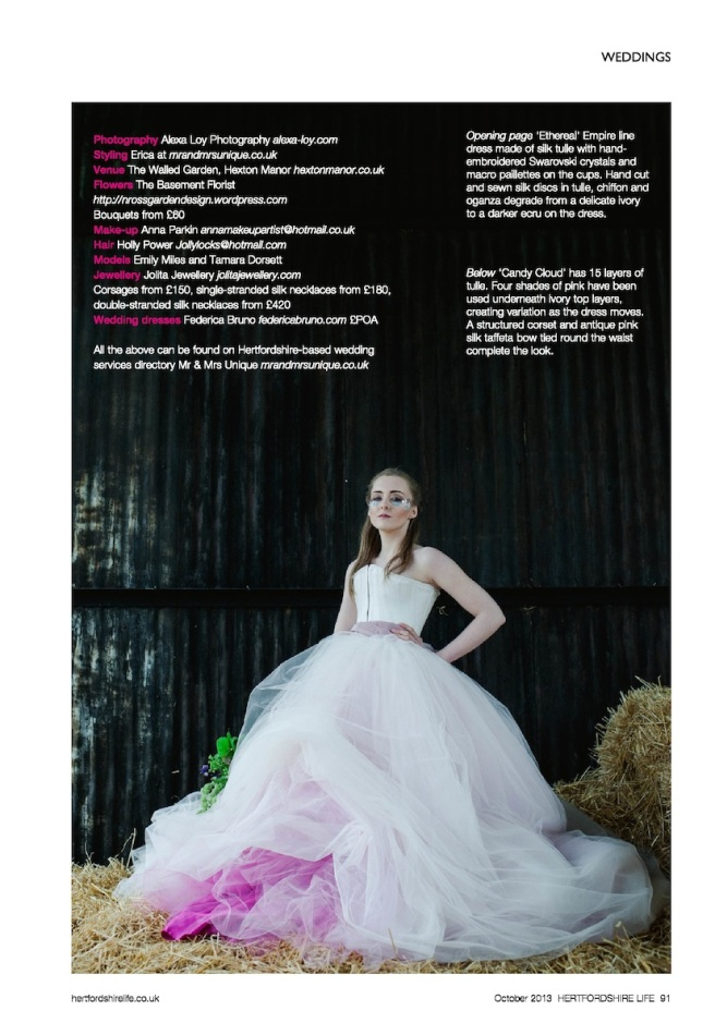 Hertfordshire Life Magazine October 2013 - Fairytales in Herts editorial, featuring Jolita Jewellery braided silk necklaces and flower corsage - credits