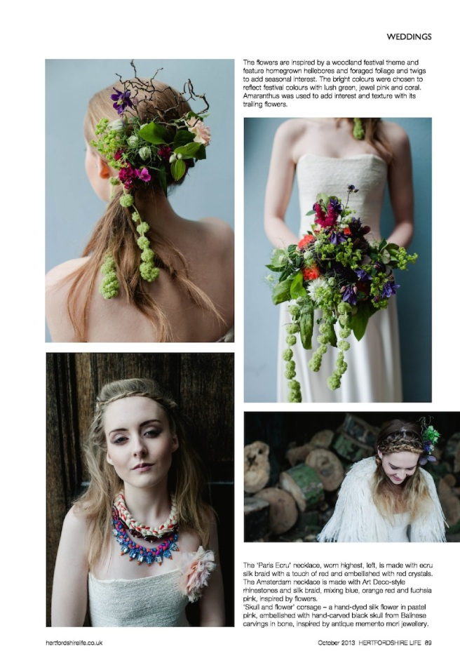 Hertfordshire Life Magazine October 2013 - Fairytales in Herts editorial, featuring Jolita Jewellery braided silk necklaces and flower corsage