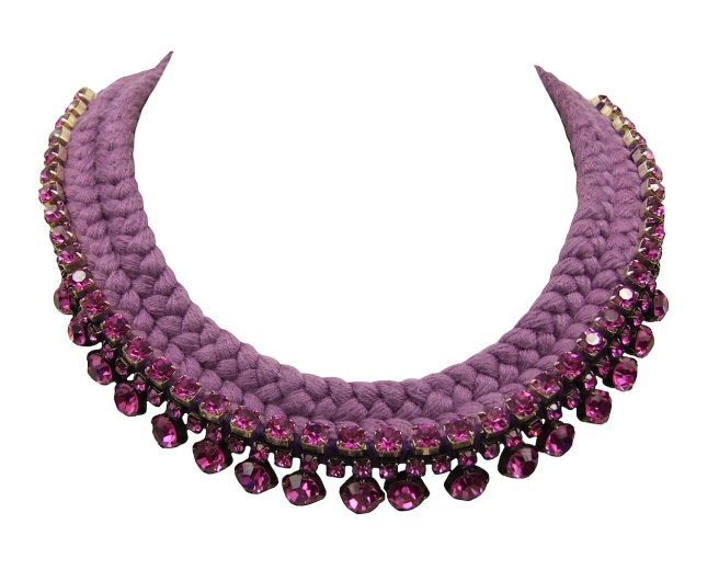 This statement collar is handmade by Jolita Jewellery. The necklace is embellished with three rows of dark pink/purple crystals and  braided with a double collar maroon silks, hand-dyed by the designer in his London studio.