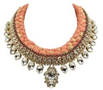 Maldives Luxe statement necklace designed by Jolita Jewellery in clear crystals dipped in gold and a dark peach silk braid, hand-dyed by designer in his London studio, which is embellished with a thin chrome chain, intricately hand-stitched to the braid.
