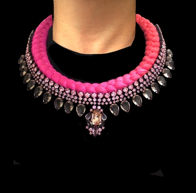 Marseille statement necklace designed by Jolita Jewellery with pink crystals and dip-dyed silk braid in fuchsia and crimson, hand-dyed by designer in his London studio.