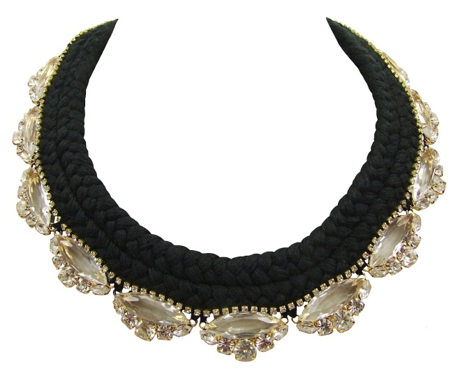 Beautiful statement necklace made with a double collar silk braid in black, hand-dyed by Jolita Jewellery designer in his London studio. The silk braid is embellished with clear crystals dipped in gold and a small row of clear crystals, intricately hand-stitched right above the bigger crystals.