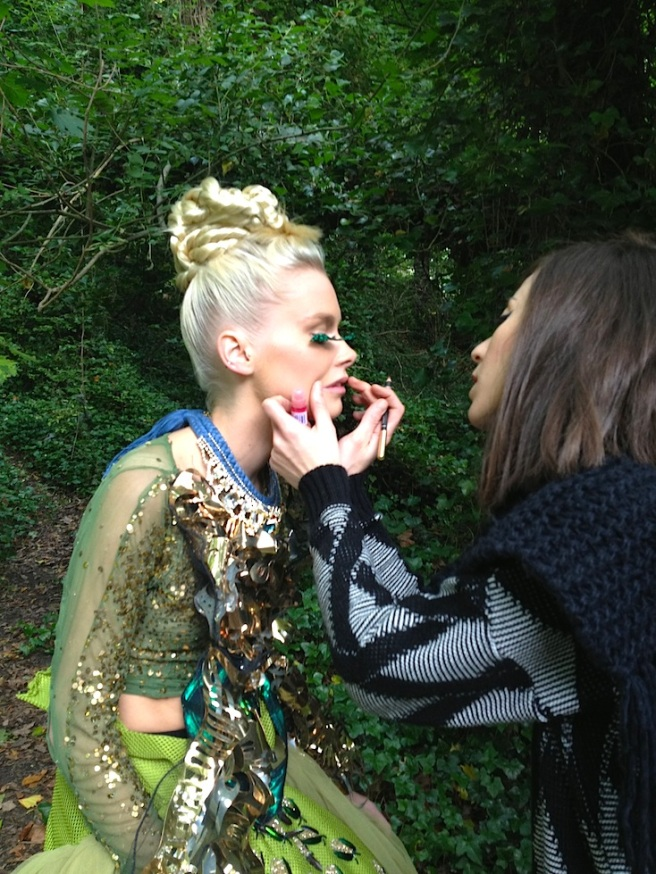 Behind the scenes from the recent shoot - putting final touches on make up, a model is in luxury Antwerp necklace