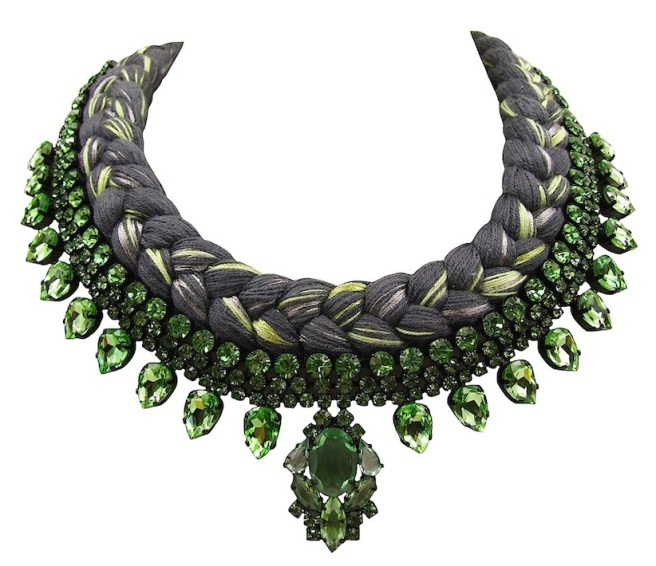 Seville statement necklace designed by Jolita Jewellery with green crystals and charcoal silk braid, mixing in a touch of metallic green, hand-dyed by designer in his London studio.