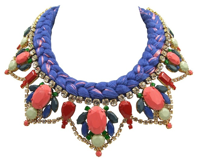A bright colourful statement necklace made with crystals and silk braid in beautiful cobalt blue,  mixing in a touch of pink. The crystals are dipped in gold and hand-painted in beautiful pastel hues.