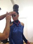 From the recent fashion shoot - a sneaky preview from behind the scenes. A model has her hair fixed before shooting the next look in a blue dress by Katayoon and Madeira statement necklace by Jolita Jewellery in blue crystals and a bright silk braid in orange red.