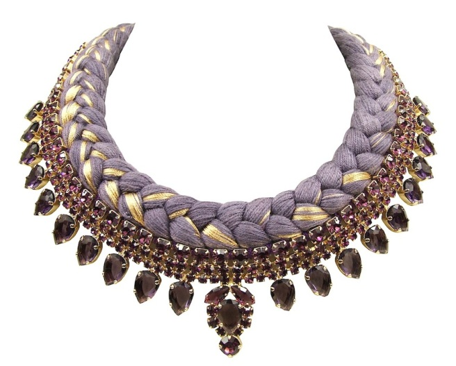 Vancouver statement necklace designed by Jolita Jewellery with amethyst colour crystals and aubergine silk braid, mixing in a touch of gold, hand-dyed by designer in his London studio. The crystals are dipped in gold for the luxury rich finish.