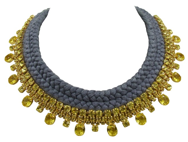 Elegant Antibes statement necklace, made with a double collar silk braid in soft charcoal and adorned with citrine yellow crystals, dipped in gold.