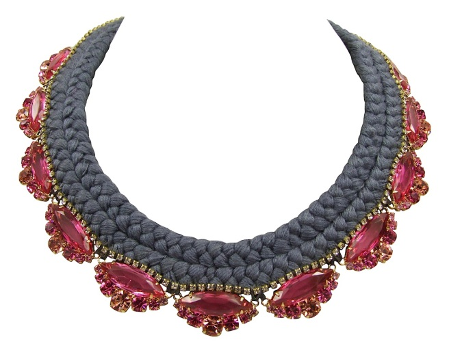 Beautiful statement necklace made with a double collar silk braid in charcoal, hand-dyed by Jolita Jewellery designer in his London studio. The silk braid is embellished with fuchsia pink crystals dipped in gold and a small row of clear crystals, intricately hand-stitched right above the bigger crystals.