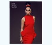 Traphic Magazine NY - November 2013 issue - colourful Madrid statement earrings and crimson braided cuff by Jolita Jewellery, styled as headpiece, featured in a shoot for KatayoonLondon.