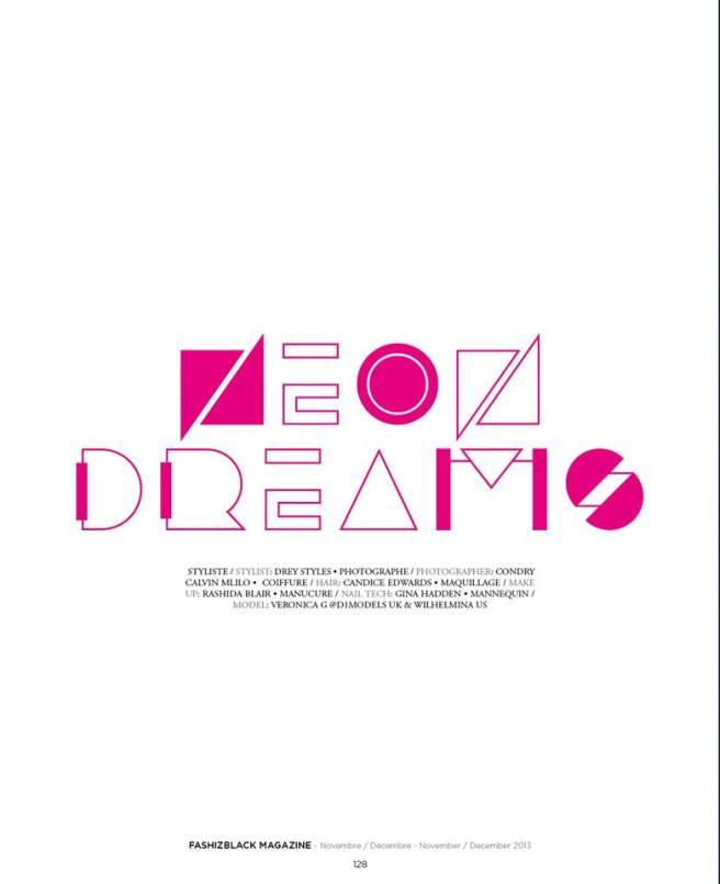 FashizBlack Magazine - Neon Dreams cover - November - December Issue 2013
