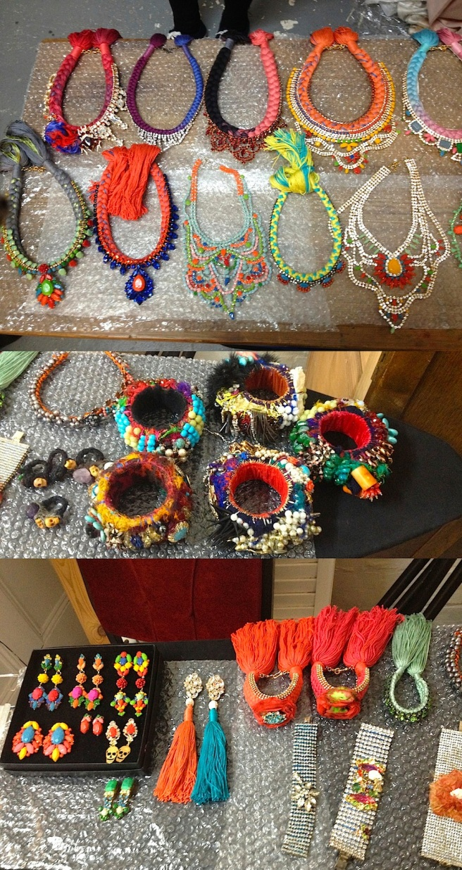 Colourful Jolita Jewels are laid out and ready for the shoot