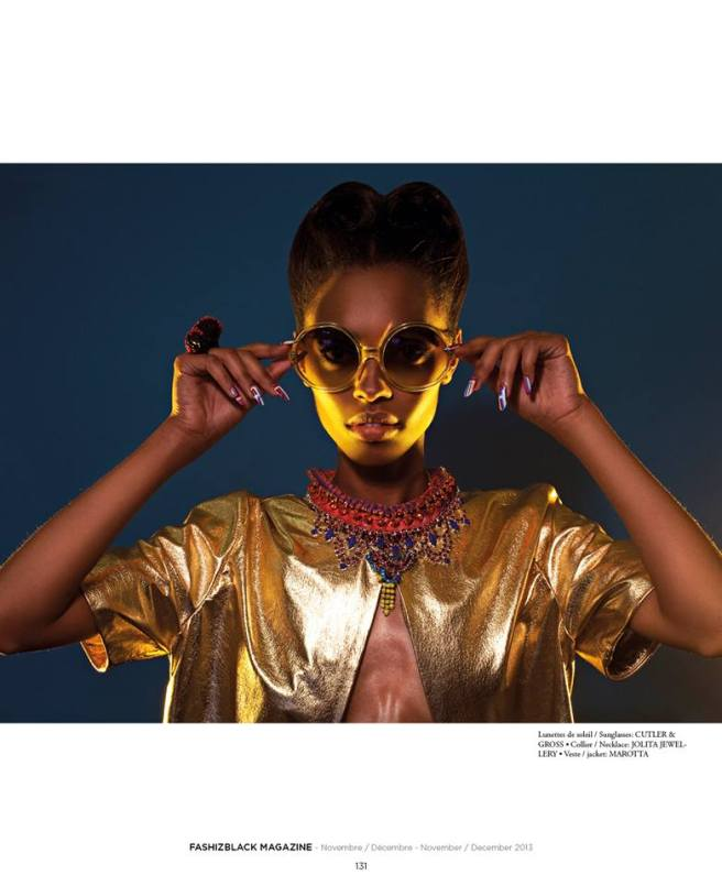 Neon Dreams editorial with Jolita Jewellery pieces published in FashizBlack magazine, November - December Issue 2013. A model is wearing Malaga and Damaskus necklaces by Jolita Jewellery.