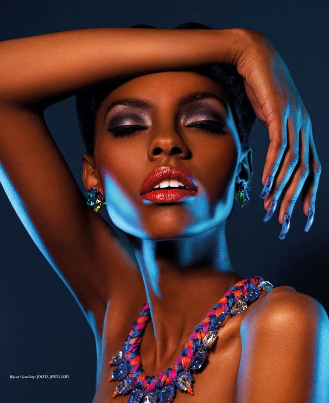 Neon Dreams editorial with Jolita Jewellery pieces published in FashizBlack magazine, November - December Issue 2013. A model is wearing colourful Ipanima clip-on earrings and Milan necklace by Jolita Jewellery.