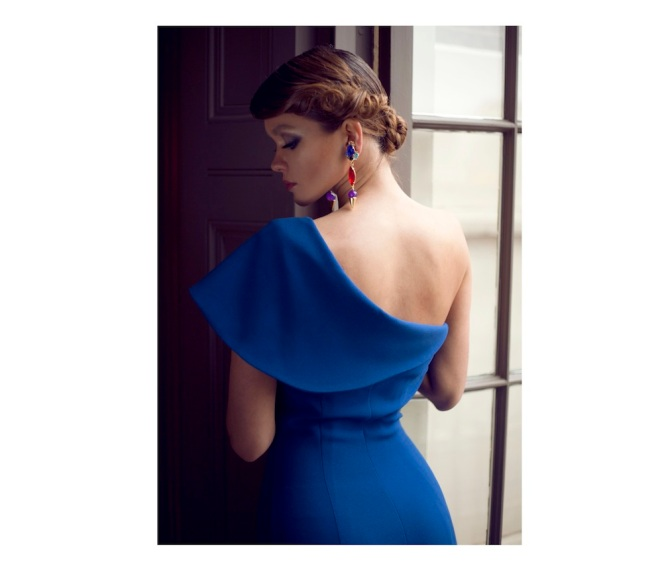 From a fashion shoot - in a beautiful Katayoon Haute Couture dress and Jolita Jewellery's blue Debutante earrings