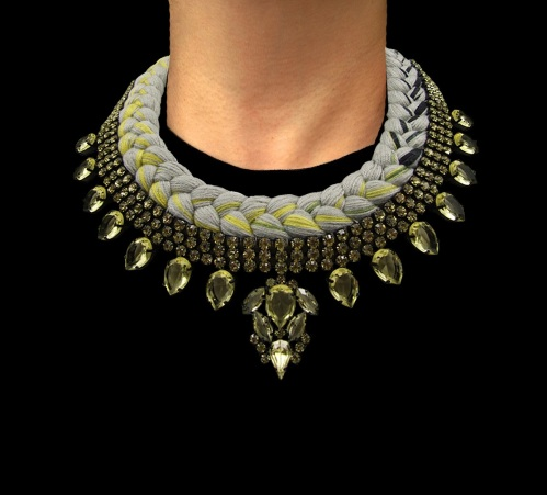 Cannes statement necklace designed by Jolita Jewellery with yellow crystals and grey silk braid, mixing in a touch of yellow and black, hand-dyed by the designer in his London studio.