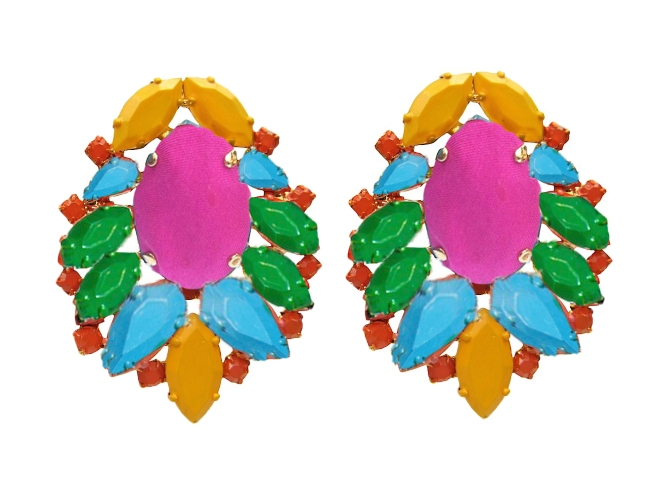Colourful Madrid statement earrings dipped in gold and hand-painted in array of colours. The centre stone is covered in hand-dyed silk. Made for pierced ears.
