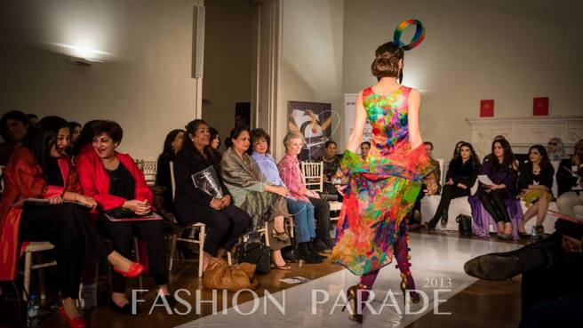 Fashion Parade event, supporting Save The Children charity. A catwalk with Nomi Ansari design and statement bangle  by Jolita Jewellery.