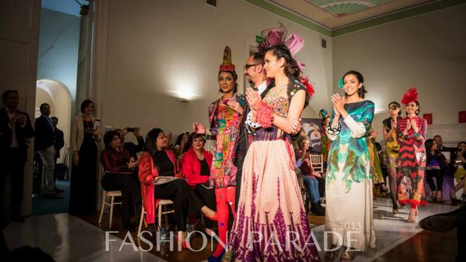 Fashion Parade event, supporting Save The Children charity. A catwalk finale with Nomi Ansari designs and Jolita Jewellery pieces.