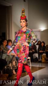 Fashion Parade event, supporting Save The Children charity. A catwalk with Nomi Ansari design and luxury Cairo necklace by Jolita Jewellery.