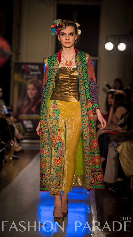 Fashion Parade event, supporting Save The Children charity. A catwalk with Nomi Ansari design and luxury Tangier statement necklace  by Jolita Jewellery.