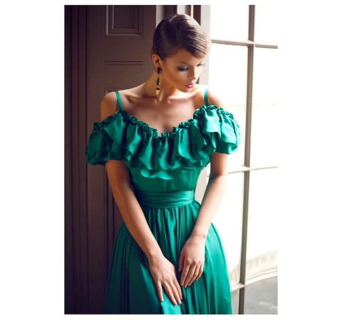 From a fashion shoot - in a beautiful Katayoon Haute Couture dress and Jolita Jewellery's green Debutante earrings