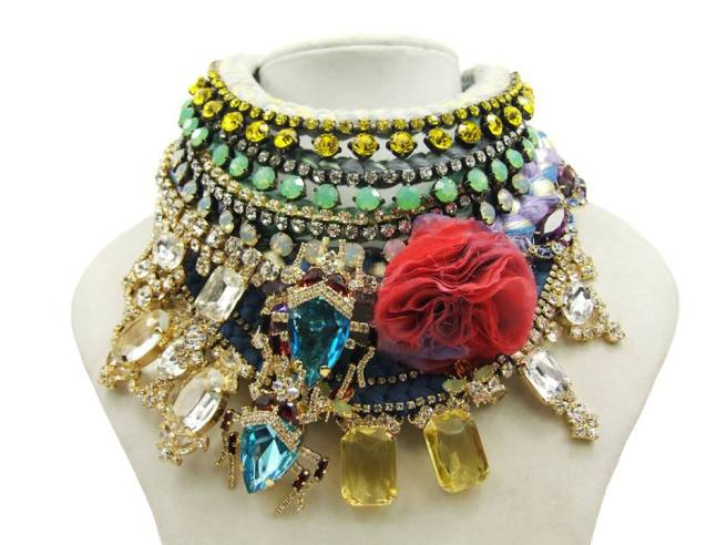 Colourful Jolita Jewellery statement necklaces, hand-made mixing hand-dyed silk and colourful crystals