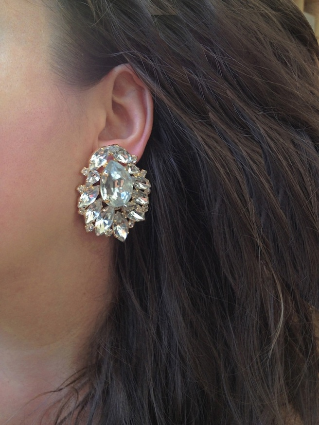 Luxury Madrid statement earrings made with clear crystals dipped in gold. Made for pierced ears.