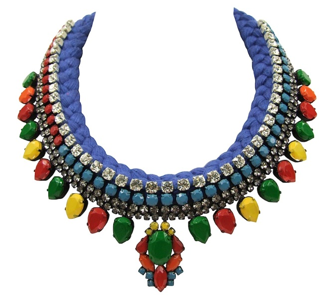 Maldives Luxe statement necklace designed by Jolita Jewellery with a cobalt blue silk braid, hand-dyed by designer in his London studio. The silk braid is embellished with a crystal necklace, hand-painted in an array of colours. Two rows of smaller crystals are intricately hand-stitched to the braid, that adds another dimension to this statement piece.