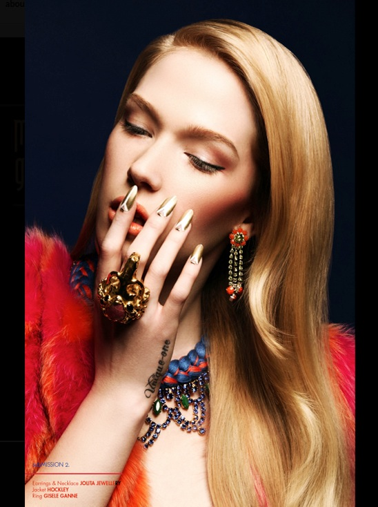 Material Girl editorial published in December issue of Submissions Magazine. The model is in a braided Malaga necklace, made by Jolita Jewellery mixing colourful hand-dyed silk with crystals, and hand-painted statement earrings