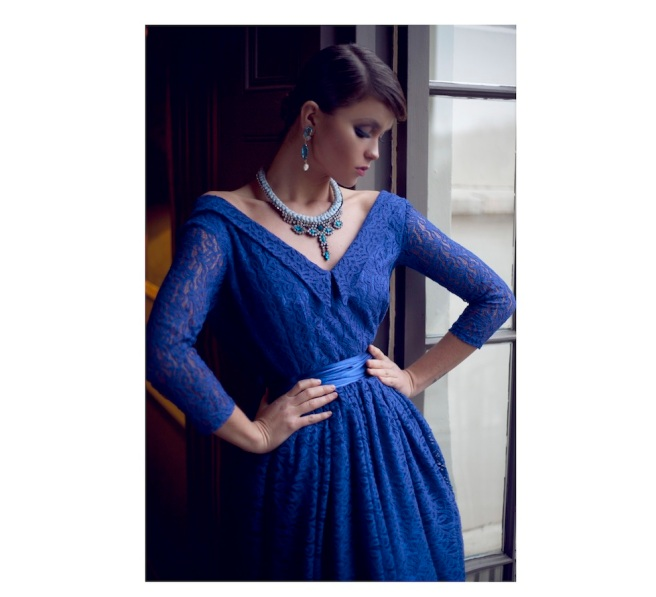From a fashion shoot - in a beautiful Katayoon Haute Couture dress and Jolita Jewellery's Socialite earrings with crystals and skulls, and St.Petersburg statement necklace in powder blue silk braid