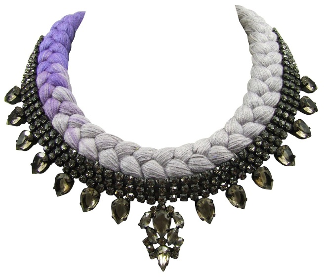 Toronto statement necklace designed by Jolita Jewellery with smoky quartz crystals and dip-dyed silk braid in purple and silver grey, hand-dyed by designer in his London studio.