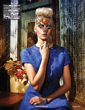 Elegant Magazine, December 2013 - Dreamy Jewellery editorial featuring Jolita Jewellery. A model is wearing Beirut earrings and hand-painted luxury Tangier necklace, styled as a headpiece.