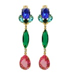 Colourful Jolita Jewellery statement earrings made with beautiful crystals dipped in gold
