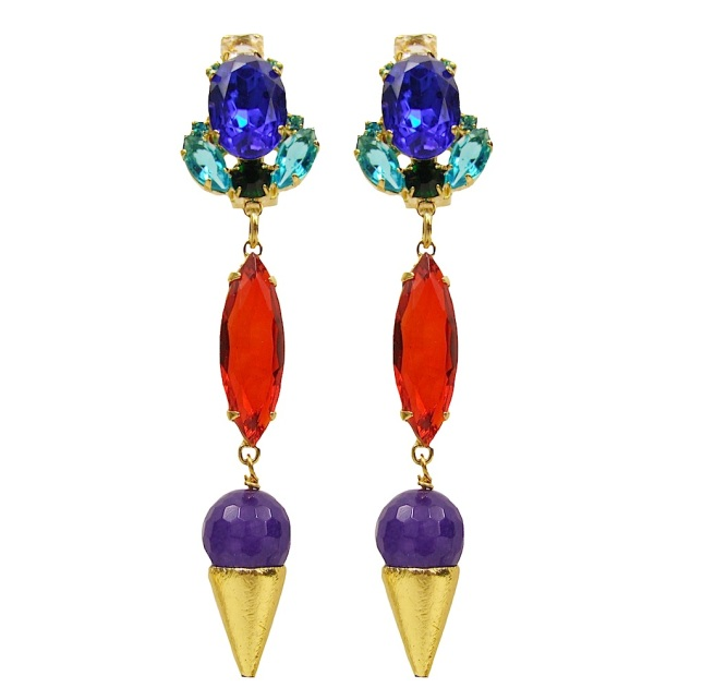 Debutante earrings by Jolita Jewellery, made with colourful crystals in blue at the centre and surrounded with smaller ones in soft pastel colours. Each earring is embellished with elongated oval red crystal and a Brazilian amethyst, sitting in a gold-plated cone. Earrings are dipped in gold for luxurious finish.
