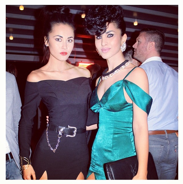 Designer Mahtab Jamali behind Katayoon London in Madrid earrings an Paris Luxe necklace by Jolita Jewellery