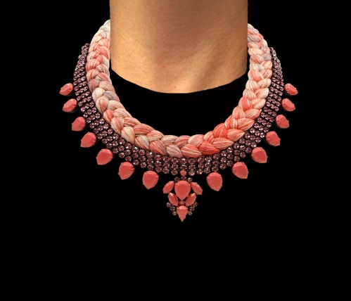 Marseille statement necklace designed by Jolita Jewellery with pink crystals and multi-coloured silk braid hand-dyed in our London studio. Some of the crystals are hand-painted in a beautiful shade of soft pink.