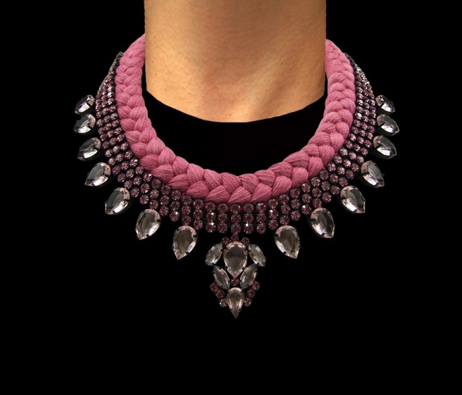 Marseille statement necklace designed by Jolita Jewellery with pink crystals and raspberry red silk braid hand-dyed in our London studio.