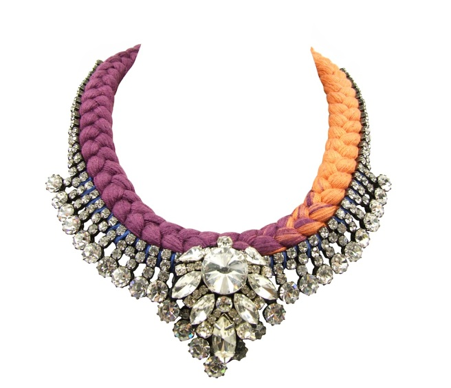 Monaco statement necklace by Jolita Jewellery is made with dip-dyed maroon and burnt orange silk braid. The silk is adorned with clear crystal necklace, which is embellished with clear crystal cluster, hand-stitched to the necklace.