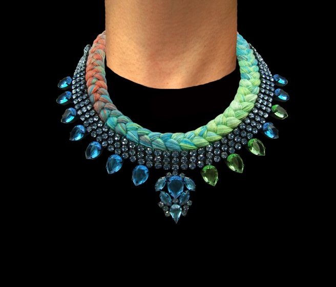 Santorini statement necklace designed by Jolita Jewellery with aquamarine crystals and triple-dye silk braid, gradually changing from terracotta to turquoise to chartreuse green and back to turquoise, hand-dyed by the designer in his London studio.