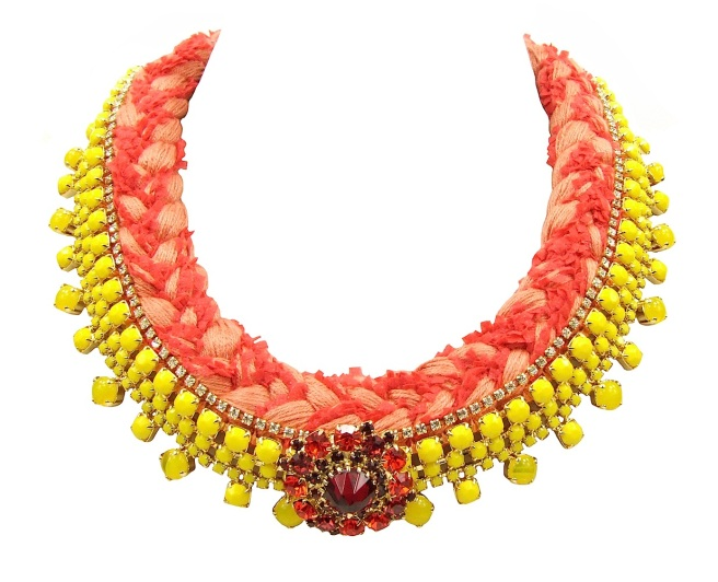 One-of-a-kind braided collar style statement necklace made by Jolita Jewellery with opaque yellow bohemian style rhinestones  dipped in gold and a peach silk braid, mixing a bright cerise. The silk collar is also embellished with a row of clear crystals and a dipped in gold rhinestone boutonnière.