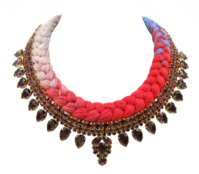 New Vancouver statement necklace designed by Jolita Jewellery with amethyst colour crystals and triple-dye silk braid, hand-dyed by designer in his London studio. The silk colours gradually change from pastel pink to vibrant scarlet red to soft blue. The crystals are dipped in gold for the luxury rich finish.