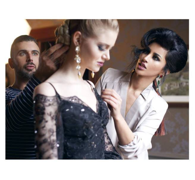 Behind the scenes: designer Mahtab Jamali (on the right) in Jolita Jewellery's green crystal Debutante earrings, model Maggie (middle) in long clear crystal Duchess earrings also by Jolita Jewellery, hair and make up stylist Nisso in the background