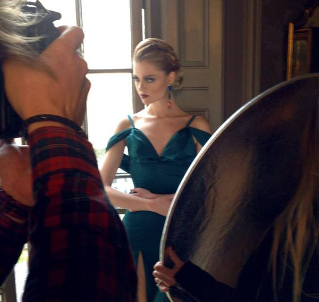Behind the scenes: Maggie is in green Katayoon couture dress and Jolita Jewellery's crystal earrings made with green, blue and pink crystals dipped in gold