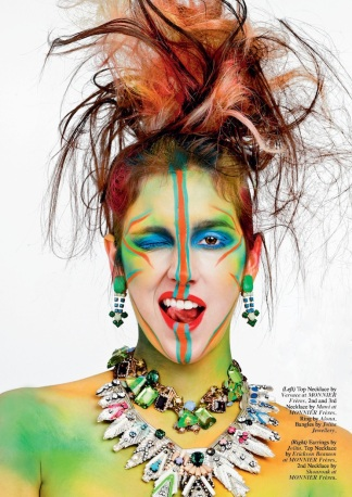 Issue #24 of HUF Magazine - Rainbow of Chaos Editorial - Jolita Jewellery feature: Dubai earrings