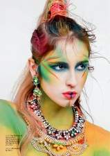 Issue #24 of HUF Magazine - Rainbow of Chaos Editorial - Jolita Jewellery feature: Alexandria necklace (bottom) and Baroness crystal and skull earrings