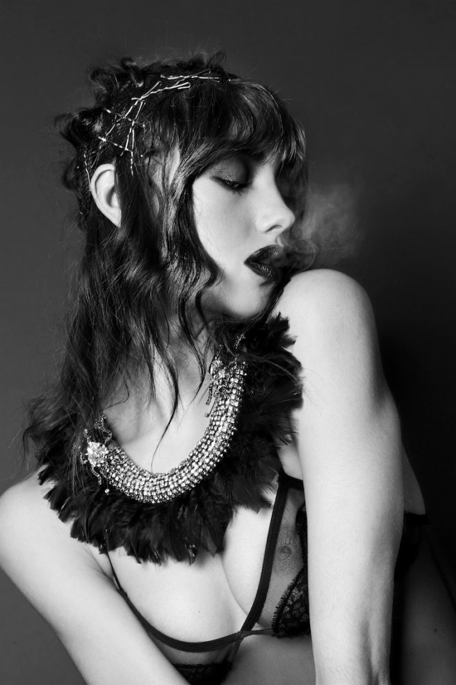 From OOH-LA-LA editorial for Planet Notion, published February, 2014 - model Leila Jay is wearing Jolita Jewellery's Feather necklace, made with blue and grey silk braid, blue feathers, clear crystals and two crystal longhorn beetles