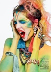 Issue #24 of HUF Magazine - Rainbow of Chaos Editorial - Jolita Jewellery feature: Skull and tassel earrings, Marrakech necklace, braided bracelet and crystal bracelet worn as a ring