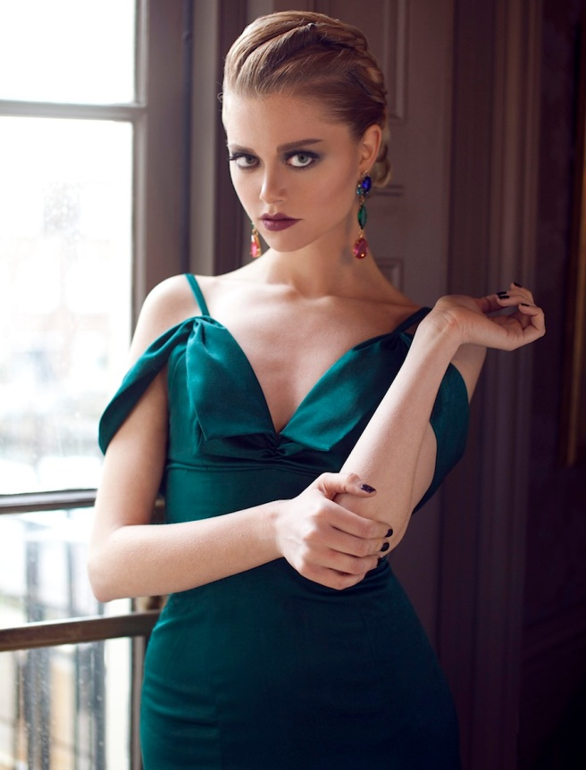 From a fashion shoot - in a beautiful Katayoon Haute Couture dress and Jolita Jewellery's green, blue and pink crystal Countess statement earrings, dipped in gold